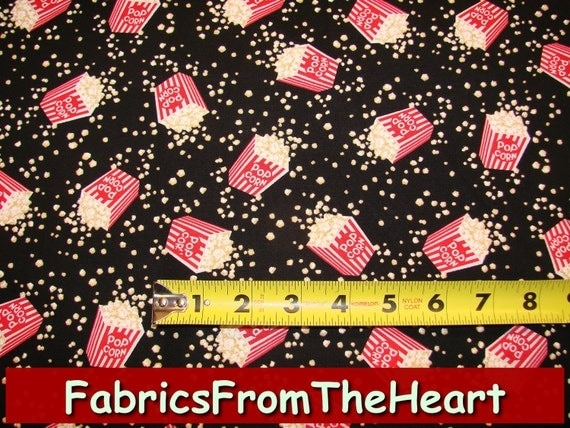 Movie Time Popcorn on Black YARDS Sewing Quilt Cotton Timeless Treasure Fabric