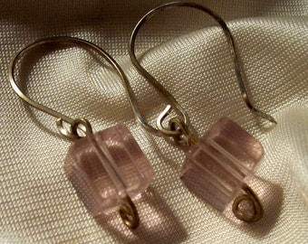 Sterling Silver and Pink Glass Earrings