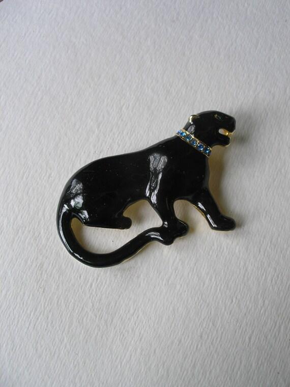 Vintage Estate Enamel  Black Panther Big Cat Sapphire Rhinestone Pin