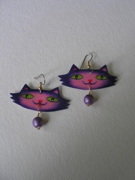 Retro Purple Pink Lavender Retro Dalton Cat Danlge Earrings