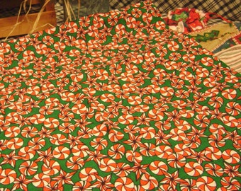 Red And White Christmas Candies on a Bright Green ,Christmas Pillow Case  (free U.S. Shipping)