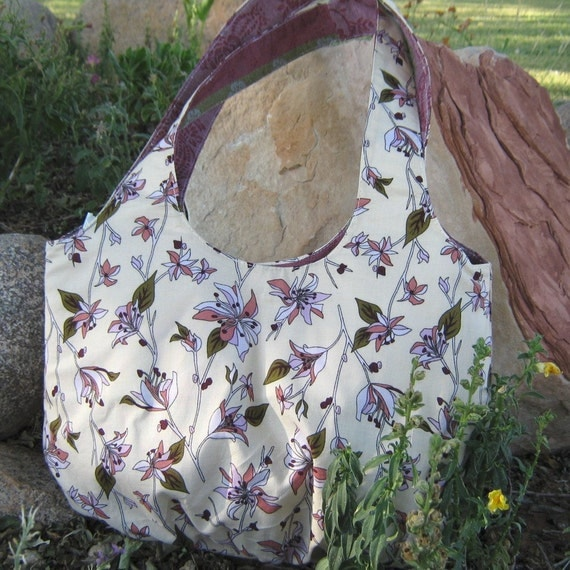 Purse /Bag  WANDERING JASMINE BAG in Cream, Pinks, and Greens