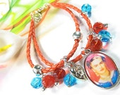 Frida Kalho braided leather and photo charm bracelet - FREE SHIPPING