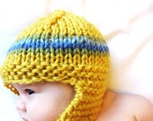 knit earflap hat and toddler photo prop, 18 months to 4T - honey yellow with blue and green stripes, all natural fibers, ready to ship