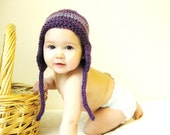 knit baby earflap hat and photo prop, newborn to 3 months - purple plum, great baby shower gift and ready to ship
