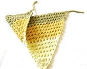 crochet hair kerchief for women, teens, girls and toddlers - green tea, buttercream yellow, and vanilla stripes - ready to ship
