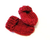 red baby or toddler mittens, hand knit and thumbless - cranberry, size 9 to 36 months, string attachment available, ready to ship