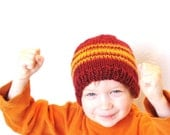 knit kids hat - fire and flames, cranberry red with orange and yellow stripes, 5T children to petite adult, natural fibers, ready to ship - BaruchsLullaby
