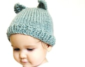 knit baby hat and photo prop - itty bitty kitty aqua, newborn to 3 months, ultra soft, machine washable wool - ready to ship