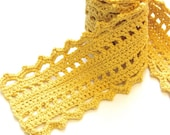 crochet lace scarf in cotton and merino wool for women and teens - buttercream yellow, all natural fibers, ready to ship