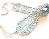 crochet hair band or hair wrap with knit ties for girls, women, and teens - pale glacier blue, soft, all natural fibers, ready to ship