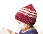 knit toddler hat and photo prop, 18 months to 4T - raspberry with cream and rose stripes, ready to ship