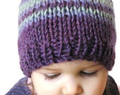 knit baby hat, boutique photo prop - plum purple, amethyst, and aqua blue stripes, soft natural fibers, newborn to 3 months, ready to ship
