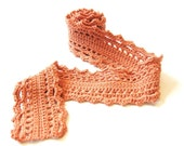 crochet lace scarf for women, teens and girls - cotton and merino wool, soft all natural fibers - apricot, ready to ship