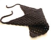 crochet bandana, cotton hair kerchief for women, children, toddlers, or teens - dark chocolate truffle - ready to ship