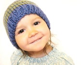knit baby hat and photo prop - ocean and sea - cobalt blue, fern, and aqua stripes, 18m to 4T, ready to ship