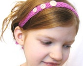 crochet headband with vintage buttons, bright pink honeysuckle, adjustable, fits toddlers, children, girls, and adults, ready to ship