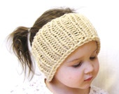 stretchy knit neckwarmer, earwarmer, or headwrap - one size fits all, baby through adult - cream, ready to ship