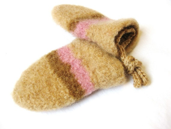 felted knit baby mittens with cuff and string ties - nougat with caramel and pink stripes, 12-24 months