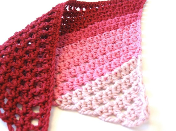 crochet bandana hair kerchief for women, teens, girls, and toddlers - scarlet red, hot pink, honeysuckle, and blush stripes - ready to ship