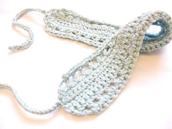 crochet hair band or hair wrap with knit ties for girls, women, and ...