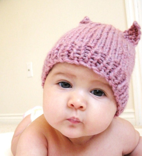 knit baby hat and photo prop - itty bitty kitty, pink rose, newborn to 3 months, all natural fibers, machine washable wool, ready to ship