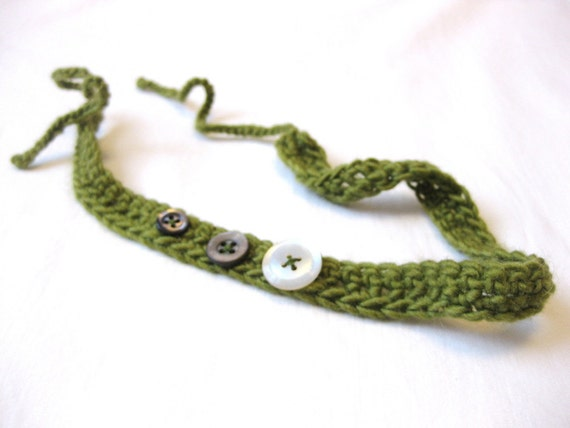 crochet headband with vintage buttons, moss green, adjustable to fit toddlers, children, girls, and adults, ready to ship