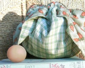 Kids Lunch Box - Japanese Style Lunch Bag - Garden Carrots and Green Plaid