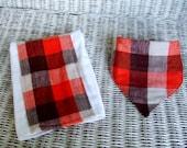 Orange and Brown Flannel Bib and Burp Cloth Set