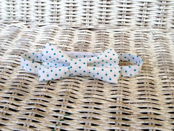 Adjustable Child's White with Teal Polka Dots Bow Tie