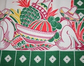 Vintage Mexican Fruit Fiesta Siesta Kitchen Tea Towel