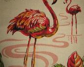 Vintage Pink Flamingoes Tea Kitchen Towel