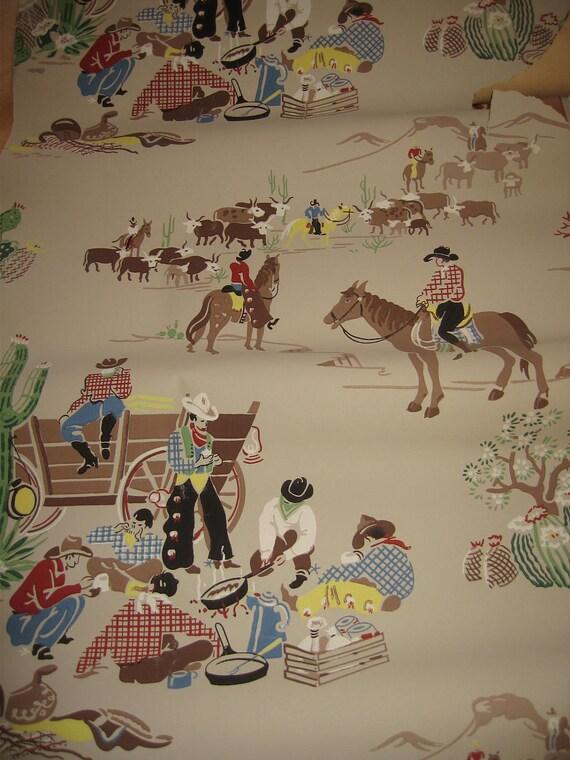 vintage 1950s cowboy western home on the range wallpaper craft