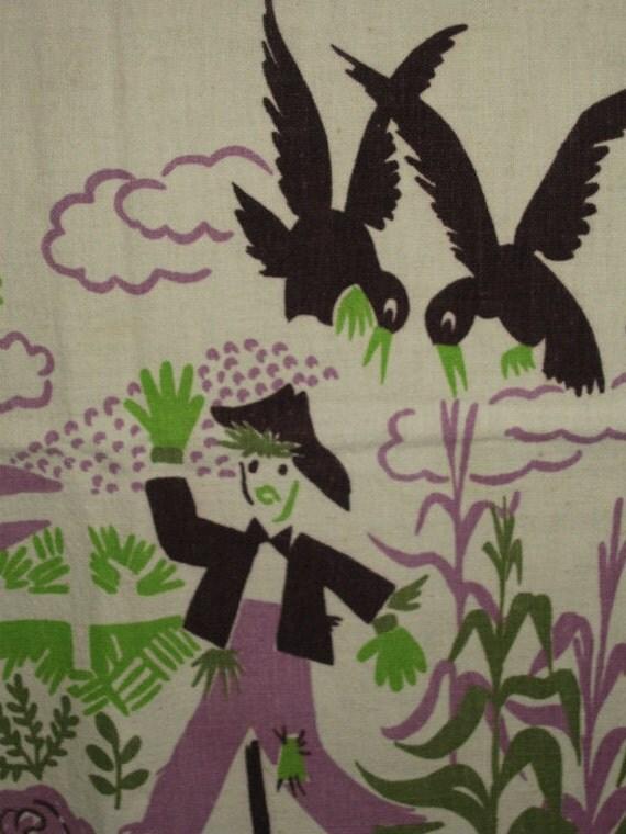 Vintage Scarecrow Halloweeen Tea Kitchen Towel