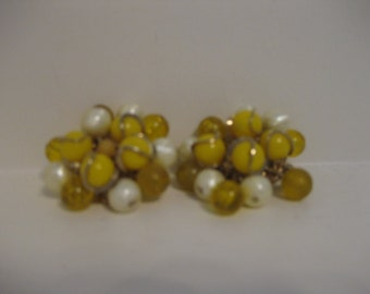 Beaded Earrings Vintage Yellow Gold Pearl Clip On