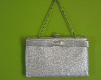 Vintage Silver Metallic Bag Antique Audrey Hepburn Evening Bag Retro Bow Hand Bag Purse with Chain Handle