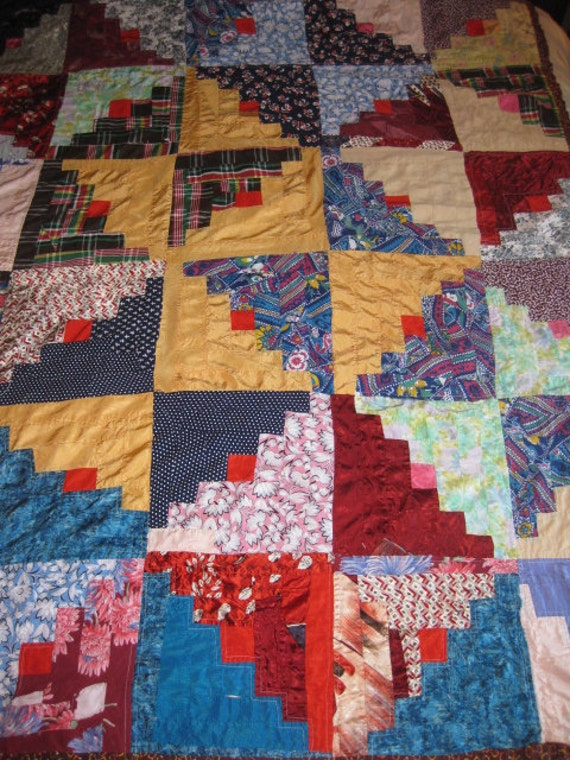 Vintage Crazy Quilt Log Cabin