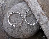 Small Sterling and Bronze Hoop Earrings