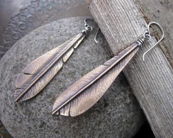 Large Bronze Woodpecker Flight Feather Earrings