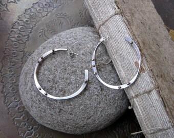 Medium Sterling and Bronze Hoop Earrings