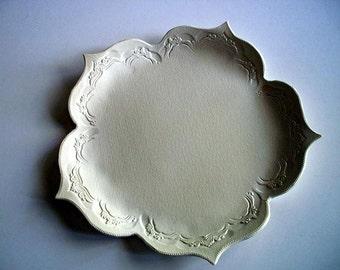 Off White Lotus Serving Platter 14 inch Diameter