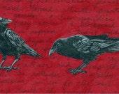 Original Matted Crow Art