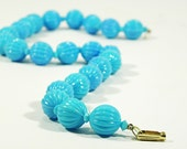 vintage baby blue beaded necklace