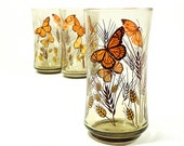 reserved for SHOOMEE . 3 vintage Libbey cups tumblers . smokey glass with wheat and butterflies