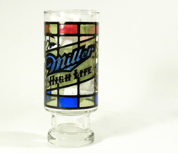 vintage Miller High Life beer glass . faux stained glass style