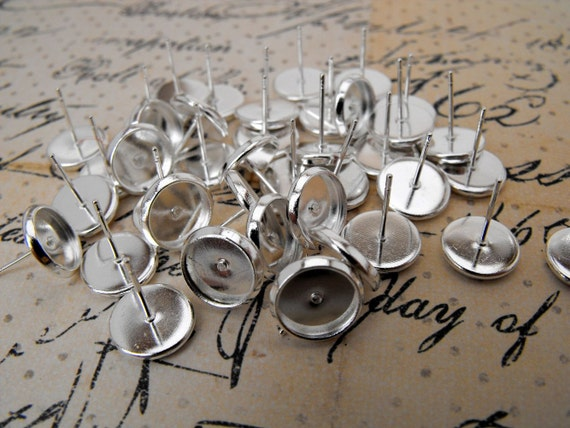 LOW STOCK - Earring Components - Studs with Tray - 20 Pieces - Rubber Backings Included