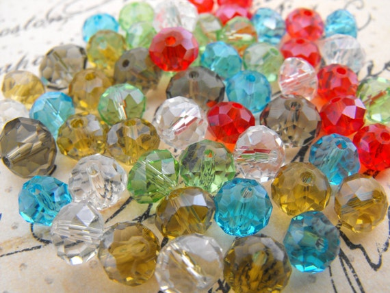 Glass Beads - 110 Faceted Rondelle Beads - Multicolour