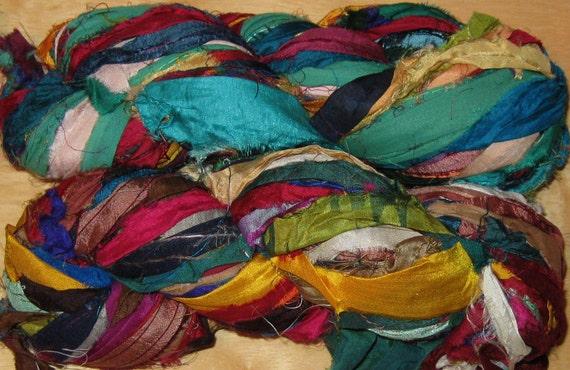 94 yards Recycled Silk Sari Ribbon Yarn, Fair Trade, 6.9 oz, 195 grams, SLIGHTLY IRREGULAR