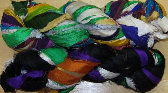 96 yards Recycled Silk Sari Ribbon Yarn, Fair Trade, 7 oz, 200 grams, SLIGHTLY IRREGULAR