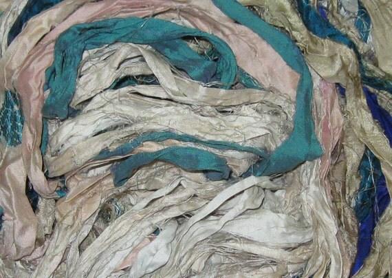 49 yards Recycled Sari Silk Ribbon, 3.1 oz, 85 grams, Fair Trade, SLIGHTLY IRREGULAR